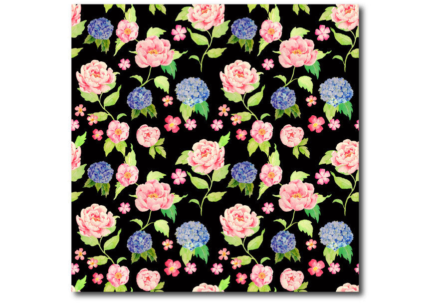 peach peony and blue hydrangea pattern, instant download