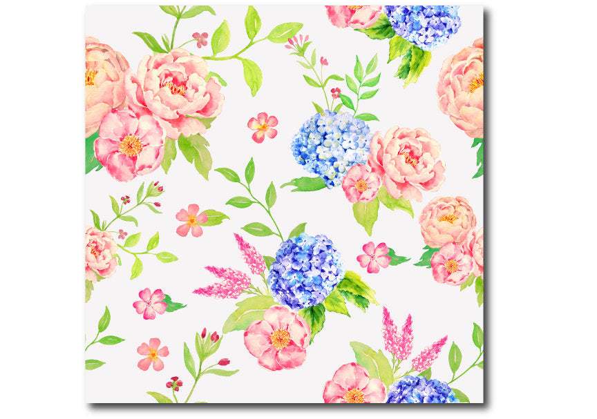 poney and hydrangea pattern, watercolor pattern
