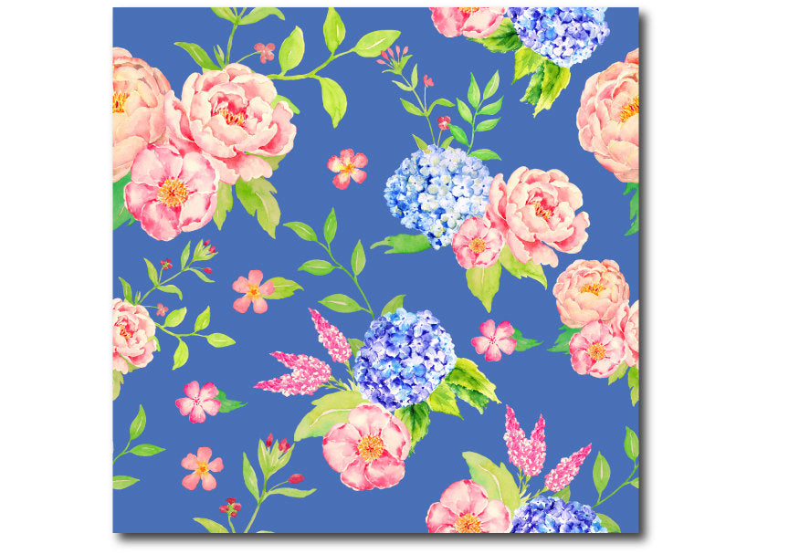 watercolor peony pattern, blue background, instant download