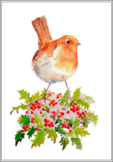 Watercolor clipart Christmas robin, red breast robin, berries