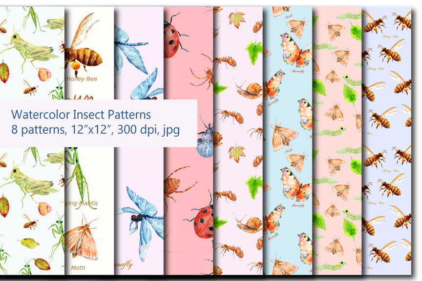 watercolor digital paper, insect pattern, instant download