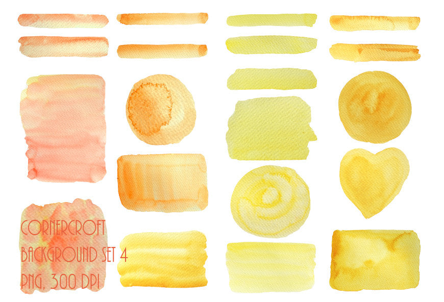 Watercolor texture orange and yellow for instant download