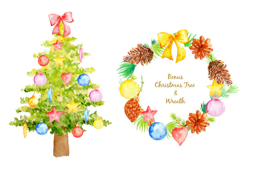 Hand painted watercolor Christmas decorations, Christmas tree, bauble, wreath, pine cone, pine needle, baubles, pine branches for instant download