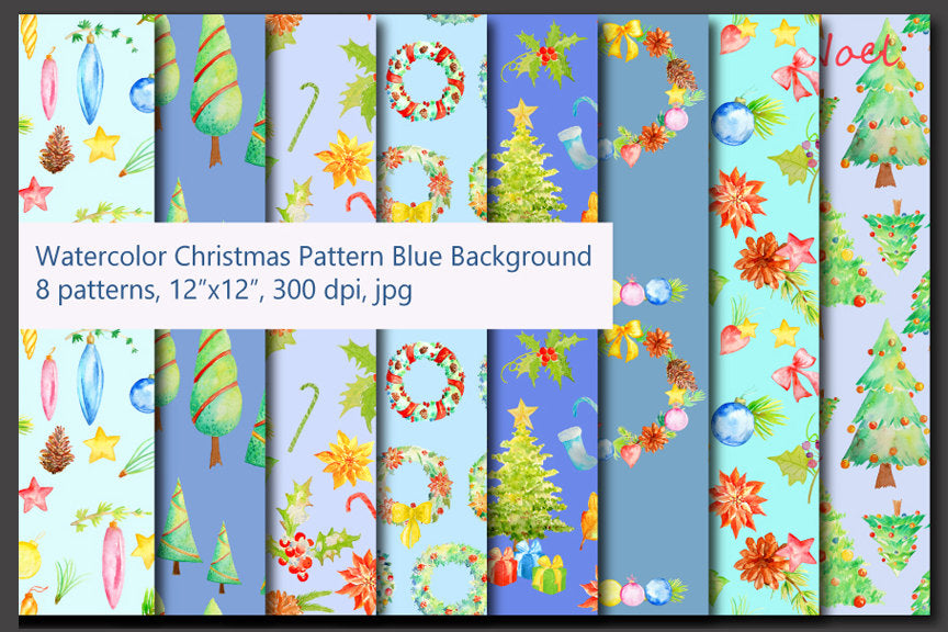 Watercolor Seamless Pattern Christmas Decoration, Digital Paper