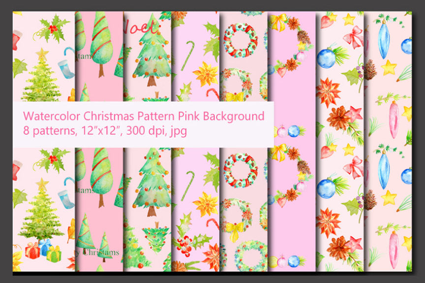 8 Seamless watercolor Christmas pattern in pink background. They are perfect for background, scrapbook, wedding background, wrapping paper, fabric design and for Christmas.
