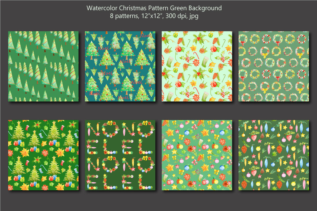 Watercolor Christmas pattern green theme, green background, digital paper