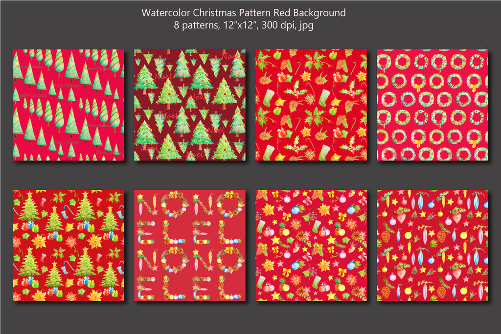 digital paper, watercolor pattern, watercolour pattern, Christmas tree, fabric design