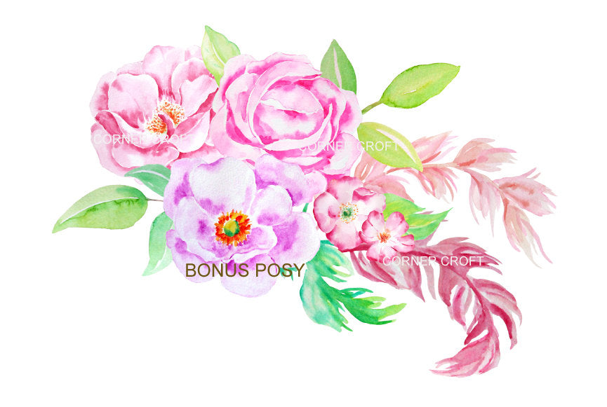 waterclor clipart pink rose and purple rose, instant download