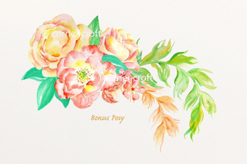 watercolor yellow rose, orange rose, rose illustration, watercolour clipart