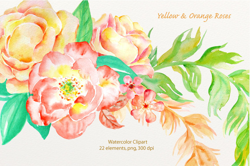 watercolor yellow rose, orange rose, wedding clipart