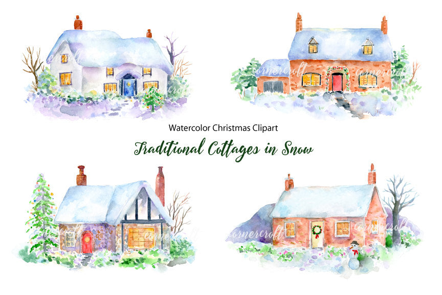 watercolor cottage, winter cottage, cottage in snow, cottage illustration