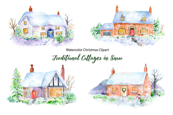 Watercolour Traditional Cottages In Snow Christmas Printabl Corner Croft