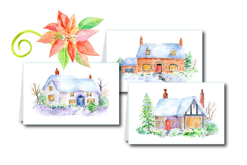 watercolour cottage for digital download, address label, Christmas card, cottage illustration