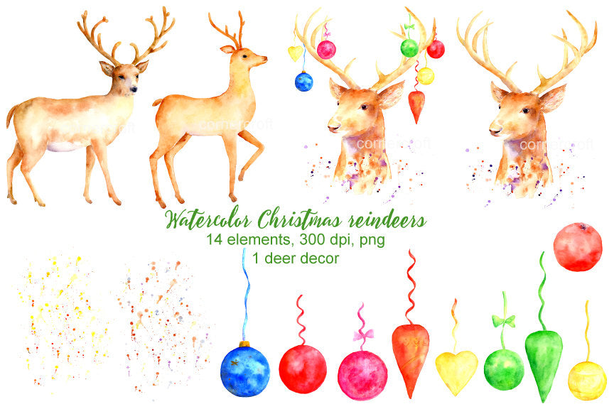 Christmas reindeer, reindeer head, baby reindeer, Christmas baubles, Christmas decoration
