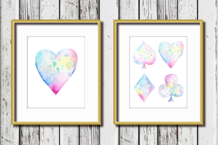 Watercolor abstract poker spade, heart, diamond and club clipart