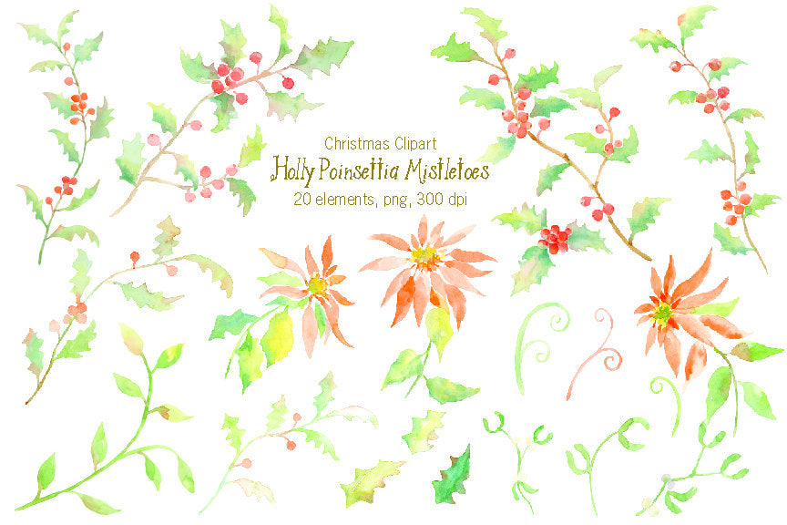 digital download of watercolor holly branch, poinsettia plant and mistletoe