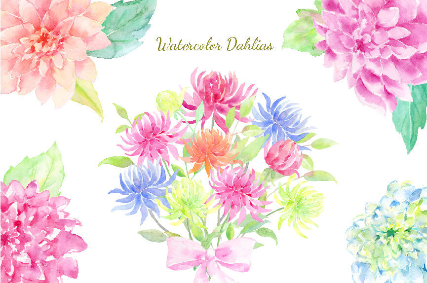 Watercolor dahlia collection in pastel pink, blue and purple