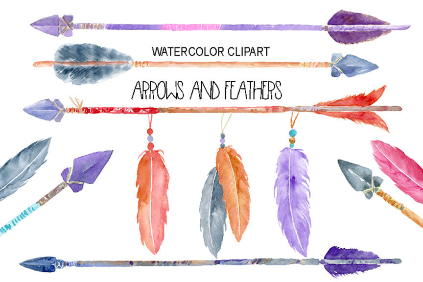 watercolor clipart, watercolour clipart, boho feathers, boho arrows