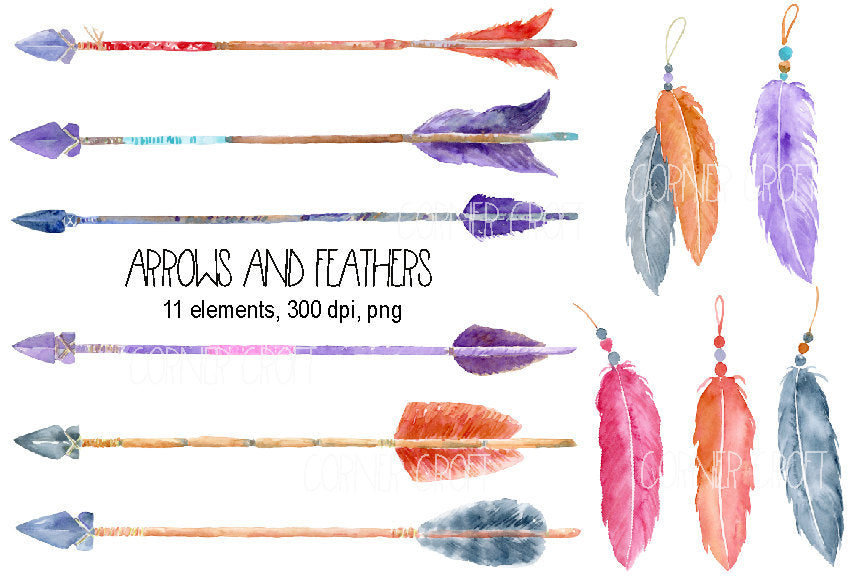 pink, purple, grey feather, boho arrows, watercolor illustration, boho clipart