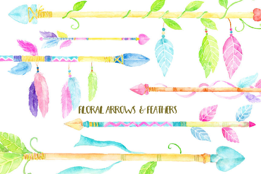 Watercolor floral feathers, arrows, boho arrow, floral arrows, leaf arrows, corner croft,