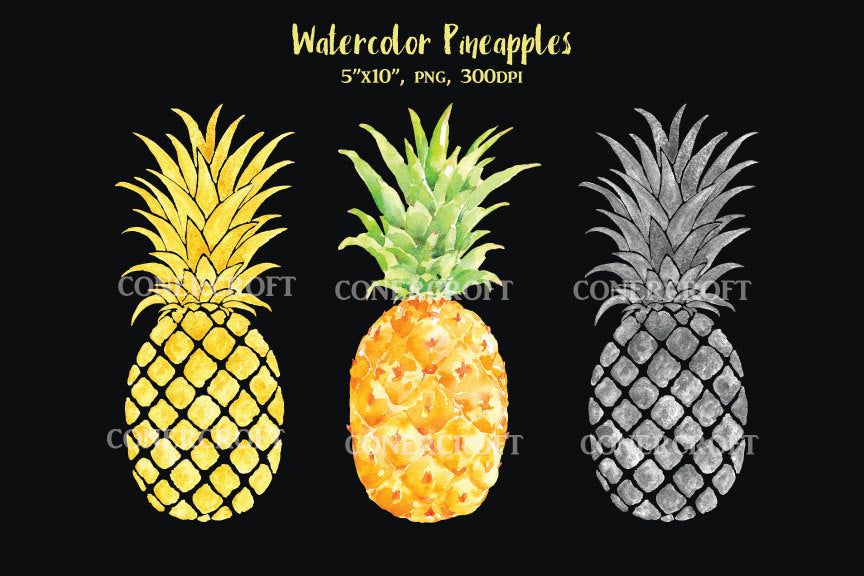 watercolor pineapple illustration, detailed watercolor pineapple, print