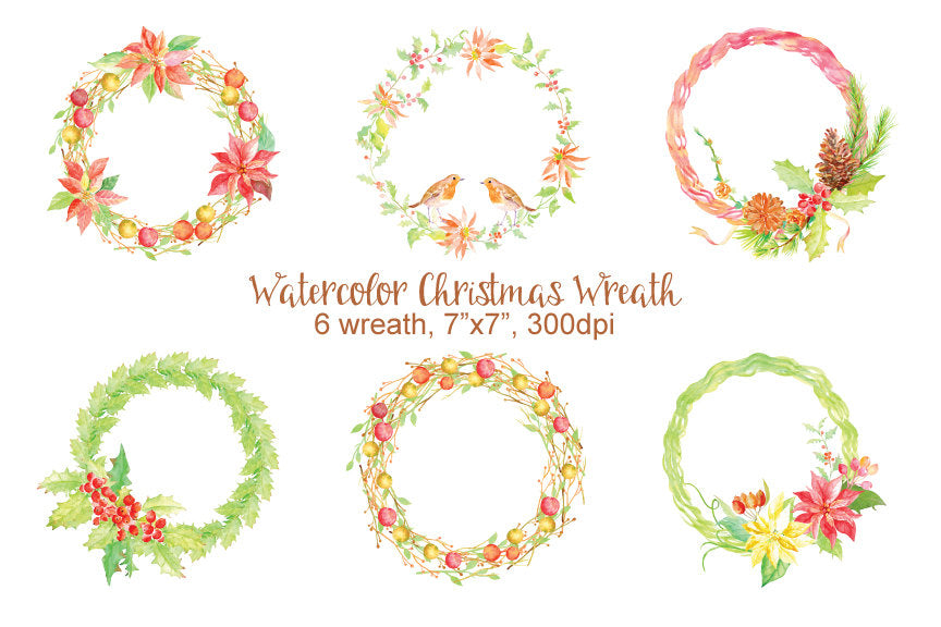 watercolor Christmas wreath, holly wreath, bird wreath,