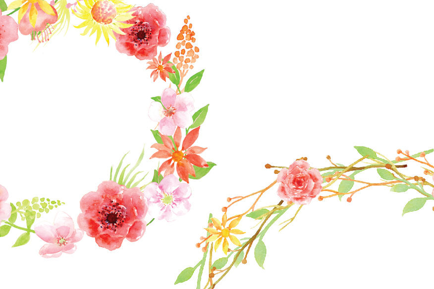 watercolor floral wreaths, pink wreaths, pink wreath, free commercial use.
