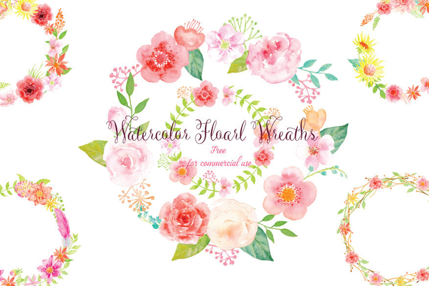 Pink Floral Wreaths for instant download, watercolor clipart, wreath  printable, free commercial use