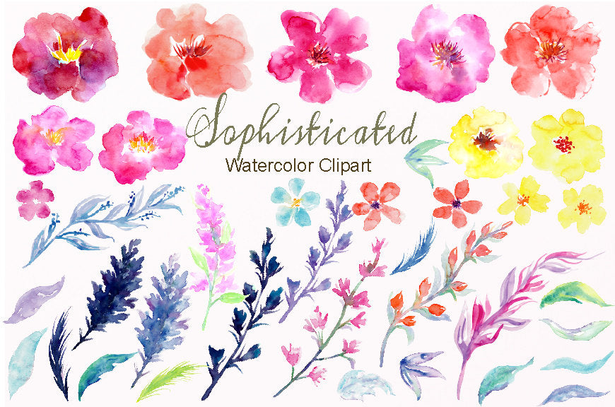 Watercolor Flower Collection Sophisticated, pink, yellow, orange and purple flowers, instant download