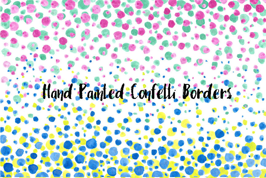 Hand painted watercolor confetti borders for instant download