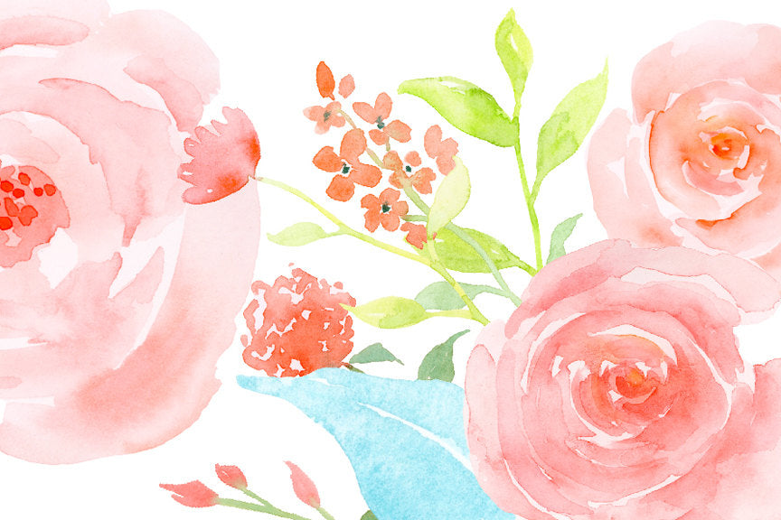 watercolor pink roses, spring flower, instant download.