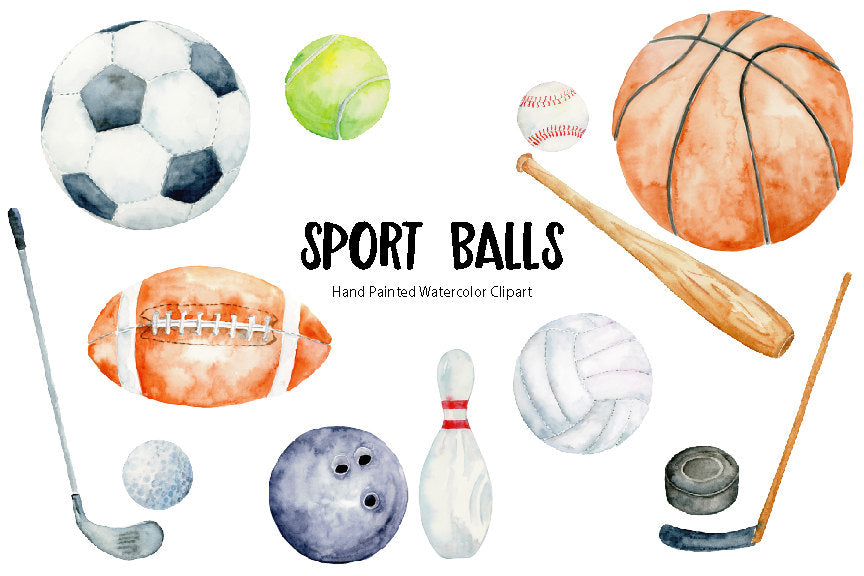 watercolor soccer, football, tennis ball, basket ball, bowling ball, hockey puck, golf ball, volleyball