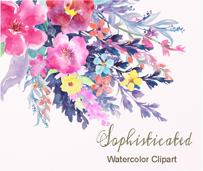 watercolor clipart, sophisticated, pink, purple, rich color, autumn color, clipart, instant download