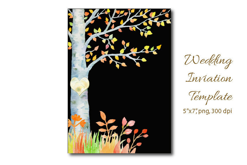 watercolor birch tree clipart, wedding clipart, instant download