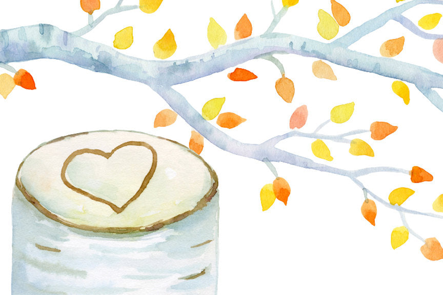 watercolor clipart birch tree, autumn birch, orange tree, instant download
