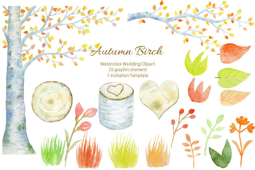 watercolor autumn birch tree, fall color, wedding invitation