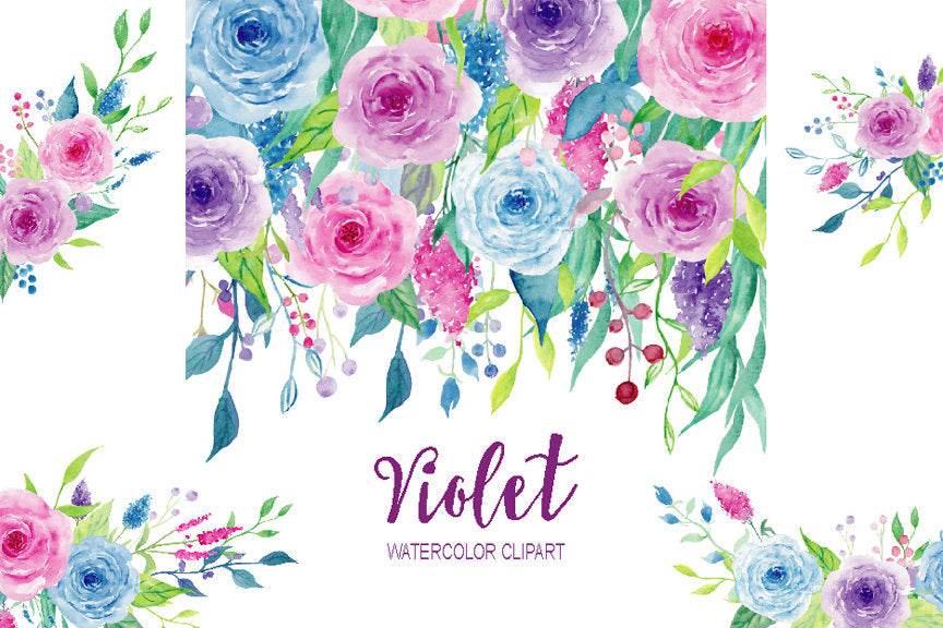watercolor collection violet, pink and purple roses, instant download, floral posy