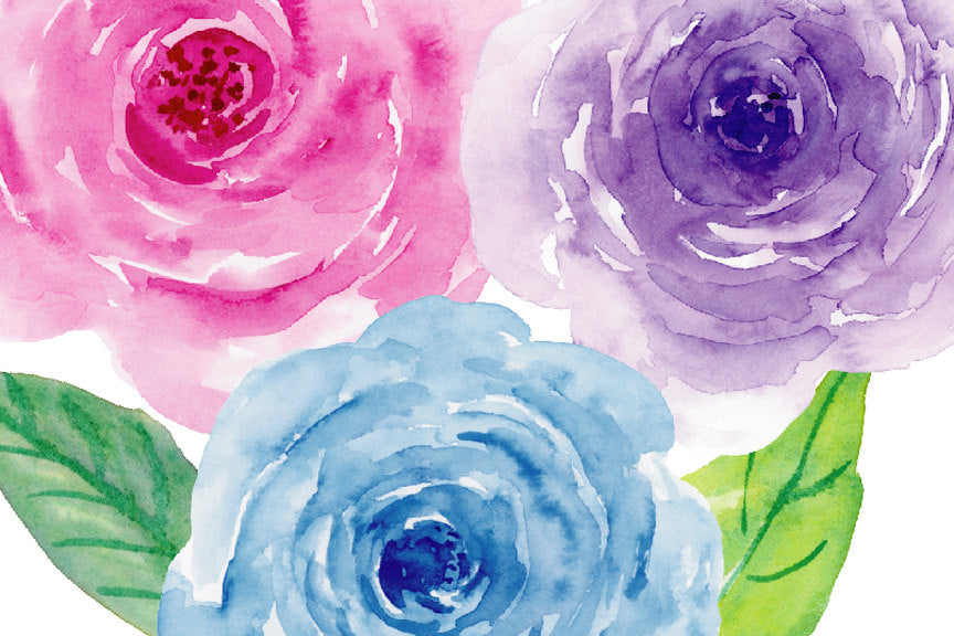 Watercolor clipart violet collection pink roses purple roses watercolour collection violet blue pink purple digital download mightylinksfo