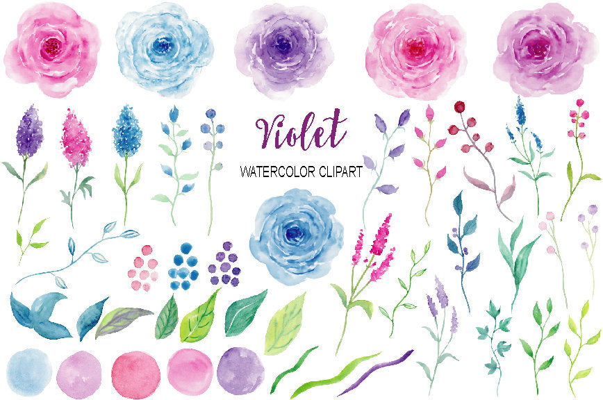watercolor pink rose, blue rose and purple rose, floral elements, digital download.