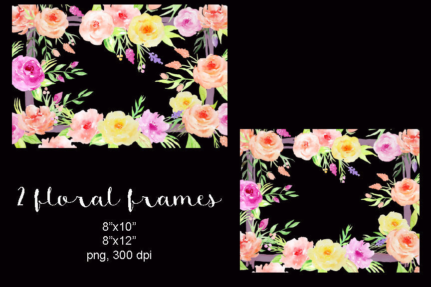 watercolor collection dreamy, floral frame, blush and pink flower frame