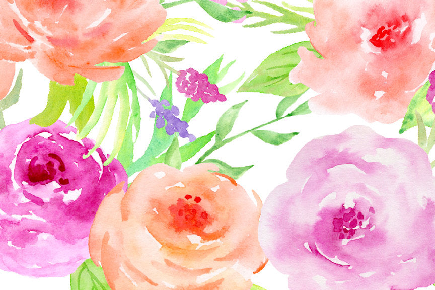 Watercolor pink and blush rose, floral arrangement, social media background