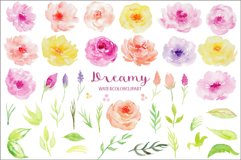 Watercolor clipart Dreamy, yellow rose, pink rose, blush rose, floral arrangement blog web
