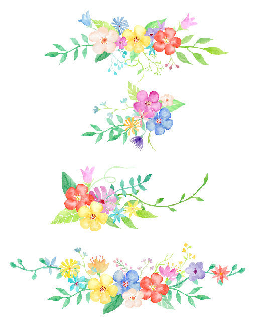watercolor collection simplicity, instant download, floral arrangements, pink flower, yellow flower