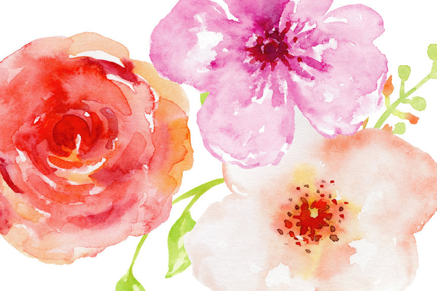 watercolor flowers, floral illustration, clip art, instant download