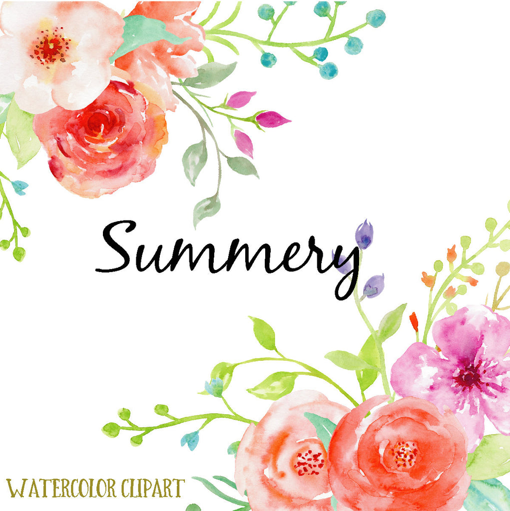 watercolor clipart summery, bright red and purple roses, floral arrangement, instant download
