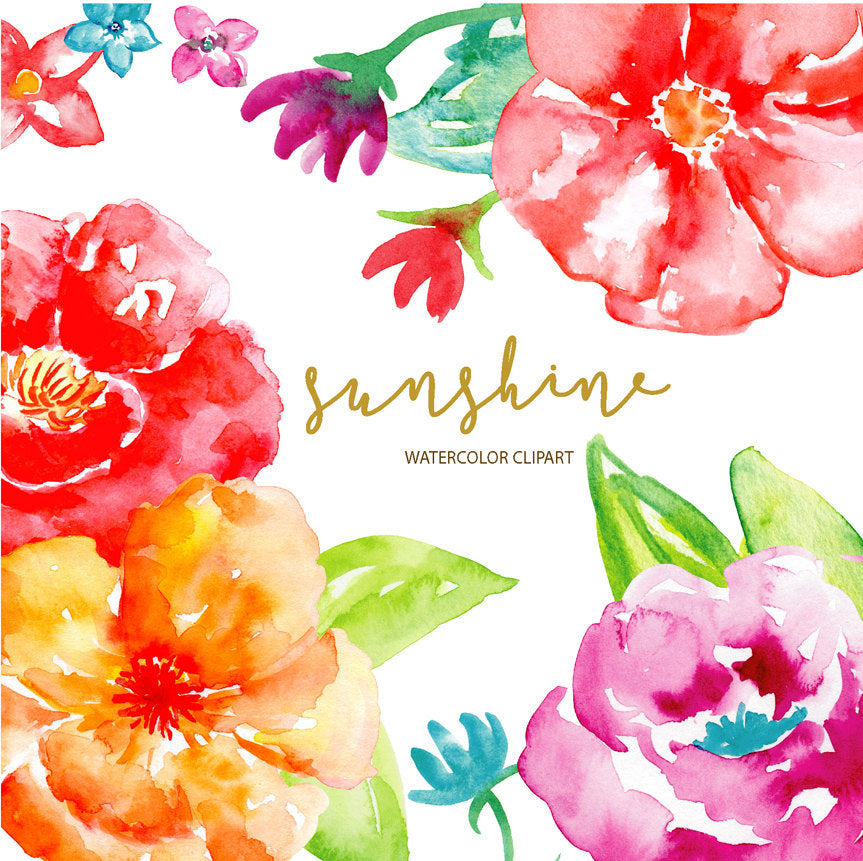 Watercolor clipart Sunshine, bright red flower, orange flower, purple flower, instant download