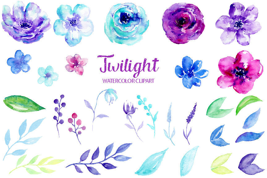 Watercolor Clipart Twilight, blue and purple flowers, ultra violet flowers for instant download
