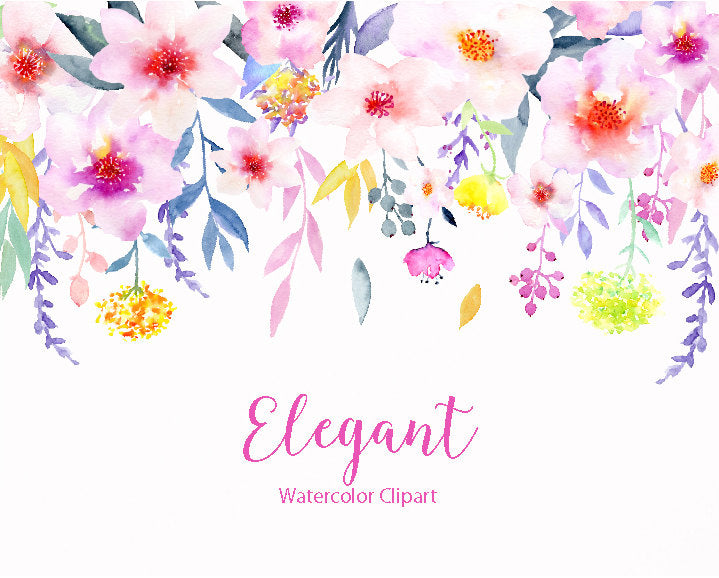 Watercolor collection elegant, pink rose, indigo leaf, blue leaf, daisy flower, instant download