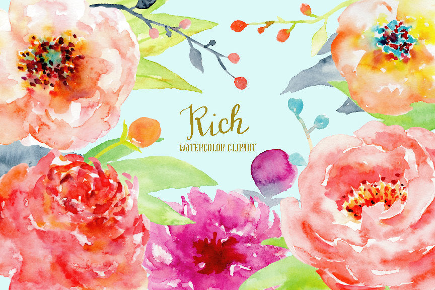 watercolor clipart rich, pink peony, red peony orange peony, instant download