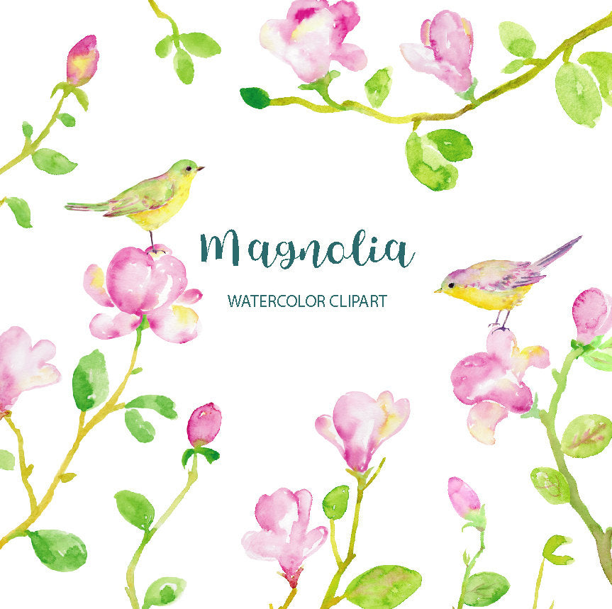 abstract watercolour pink magnolia, instant download, digital watercolor clipart,